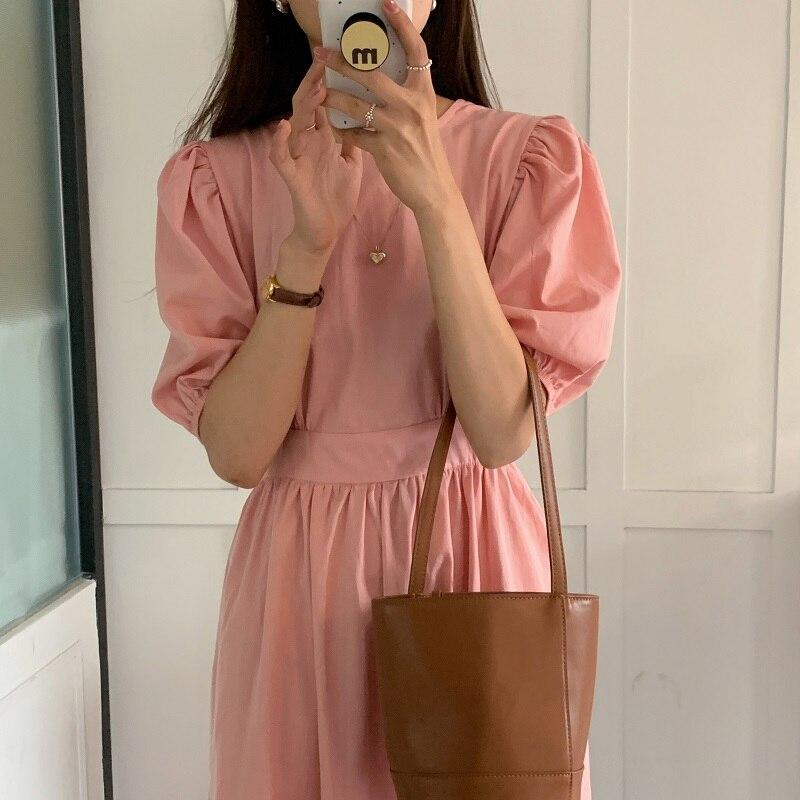 H3d60b82df1d8456982e0f7c6f982f1ddz - Summer O-Neck Short Sleeves Elastic-Waist Calf Length Solid Dress