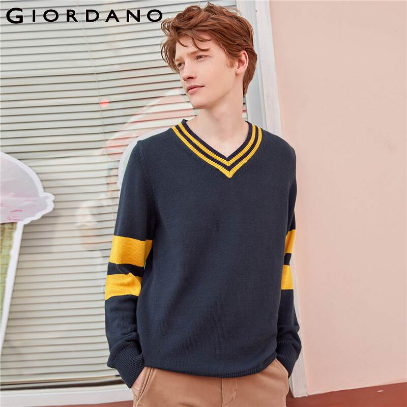 Giordano Men Sweater Thick Contrast Sleeves V-neck Pullover 7 Needle Knitting Cotton Blusa De Frio Masculino 01059860