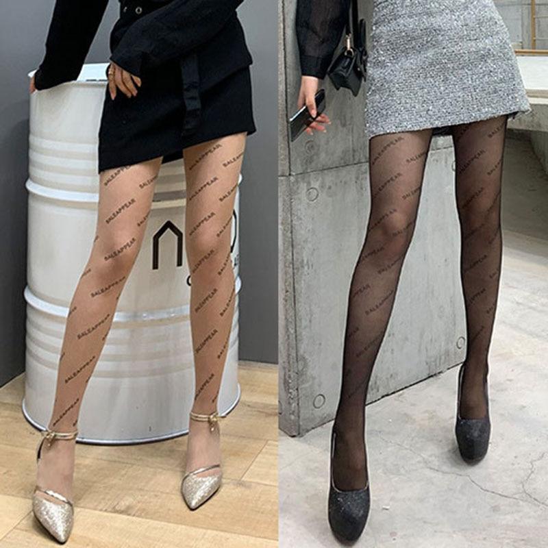 Fashion Women Black Sexy Fishnet Pantyhose Elastic Printing Letter Stockings Female Thin Mesh FishNet Patterned Pantyhose Tights