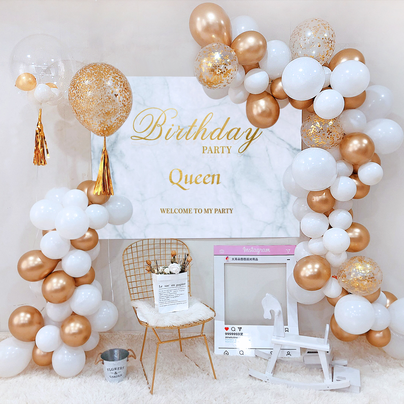 Golden Glitter White Theme Birthday