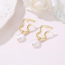 Hot Style Korean Version of High Quality Geometric Temperament Irregular Pearl Baroque Earrings Wholesale Drop Earrings цена