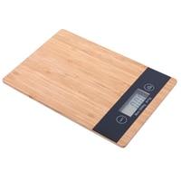 HLZS 5000G/1g 5 kg de madeira bambu hd display lcd escala digital multi função hd display lcd eletrônico equilíbrio automático fora Balança de banheiro Casa e Jardim -