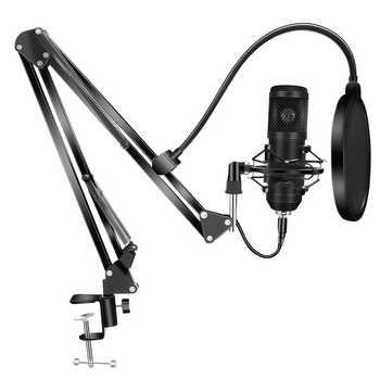 Bm800 kits de microfone condensador bm 800 usb para computador karaoke microfone pop filtro para gravação estúdio som microfone gamer