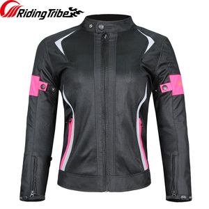 Image 3 - Women Motorcycle Jacket Pants Summer Ladies Riding Raincoat Safety Suit with 9pcs Protective Gears and Waterproof Lining JK 52