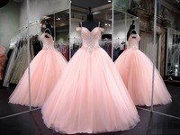 Sweetheart Pink Spaghetti Straps Tulle Quinceanera Dresses 2019 Beaded Rhinestones Top Ball Gown Prom dress Party Princess