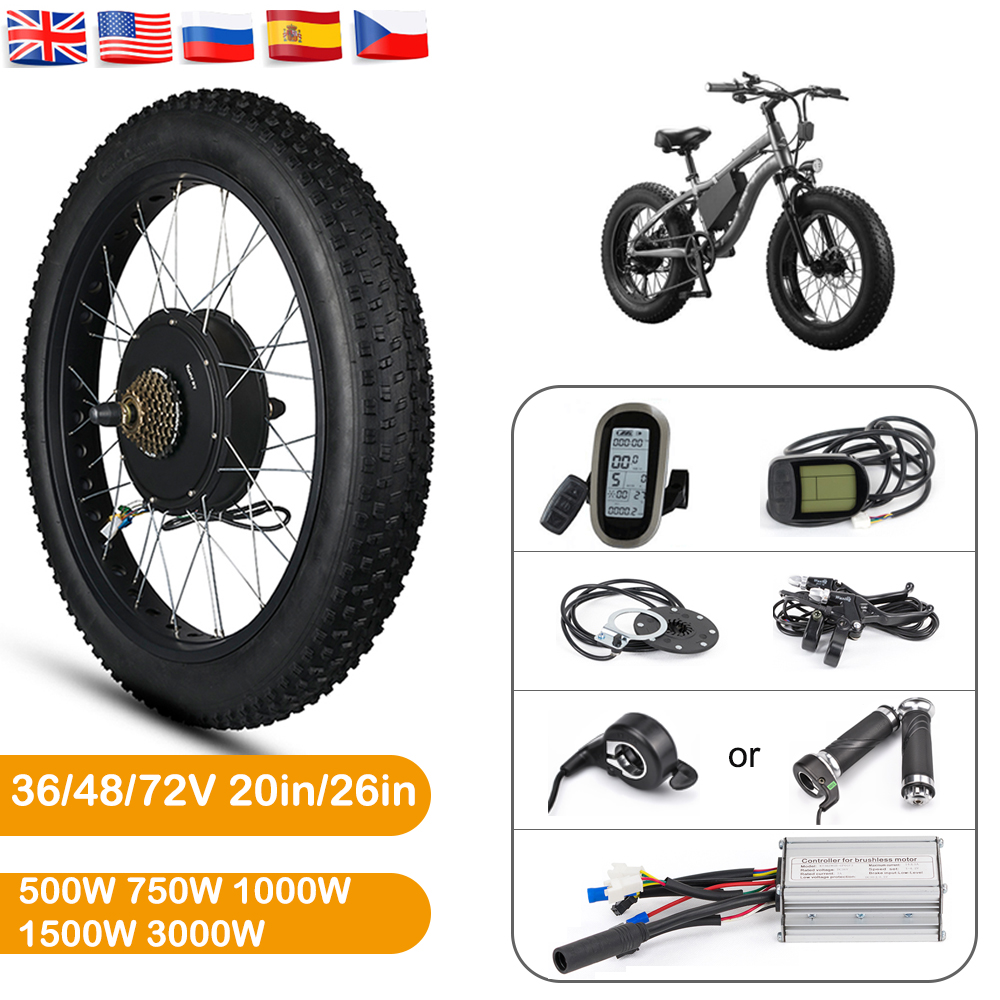 Electric Bike Conversion Kit 26in Electric Fat Bike Conversion Kit Brushless Hub Motor Wheel Snow Bike Motor 36V 48V 1500W 3000W