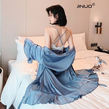 JINUO Womens Silk Satin Robe Kimono Robe Short Bathrobe Sexy Lingerie Sleepwear sling silky comfortable pajamas sleepwear