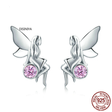 DISINIYA  New Fashion 100% 925 Sterling Silver Flower Fairy Pink CZ Stud Earrings for Women Silver Jewelry gift sce395 Law