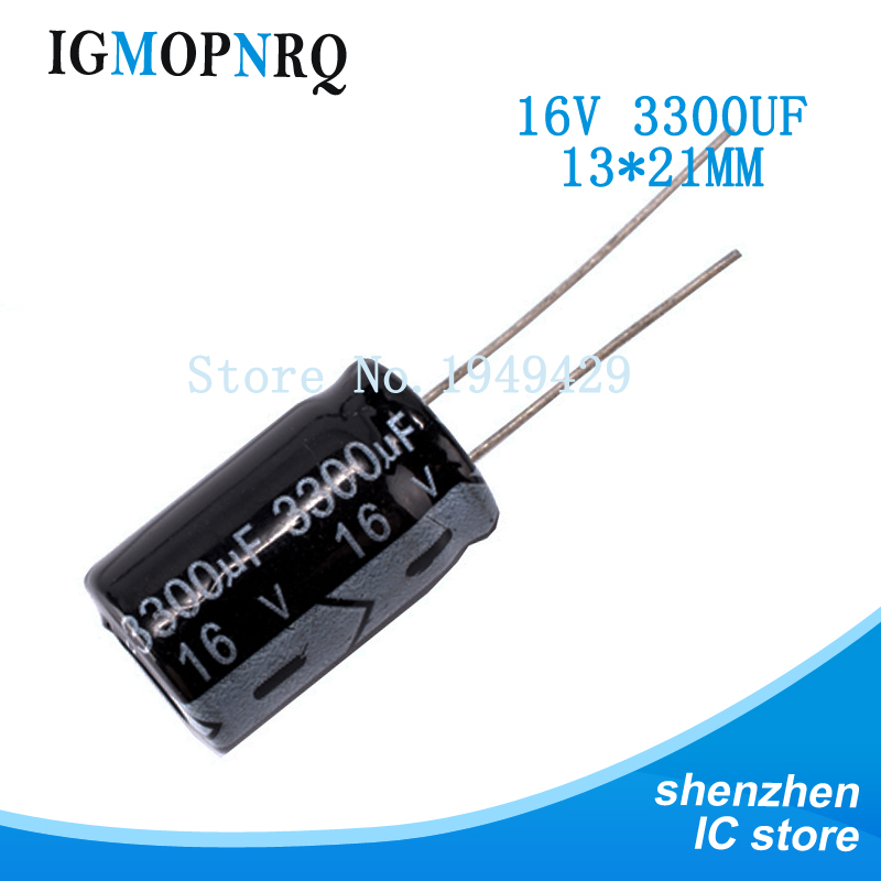 10PCS Good quality 16V3300UF 13*21MM <font><b>3300UF</b></font> <font><b>16V</b></font> 13x21 16v3300 Aluminum electrolytic <font><b>capacitor</b></font> image