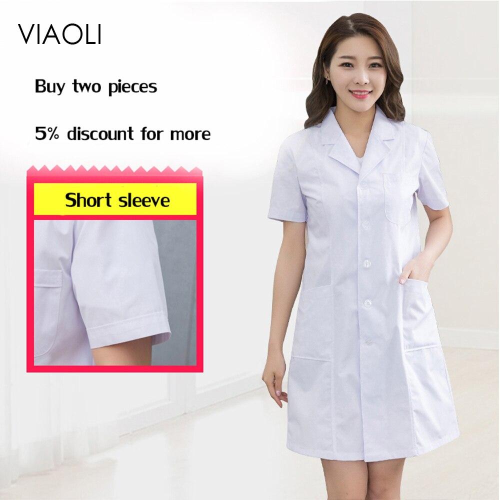 Atacado uniformes médicos roupas ponto branco casacos médicos spa hospital vestido de laboratório casaco enfermeira esfrega uniforme farmácia veterinária