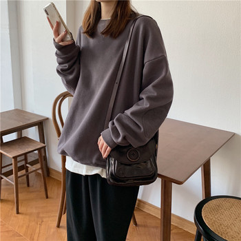 Soot/Orange Color 2020 Autumn College Women Pullover Elbow Patch Loose Solid Round Neck Sweatershirts Female