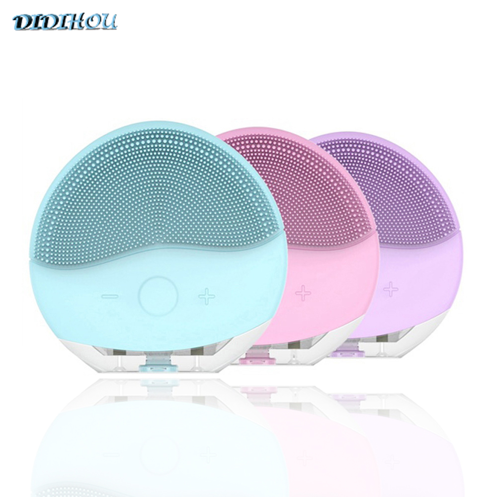 Mini  Electric Face Facial Cleansing Brush Foreoing Silicone Sonic Cleaner Deep Pore Cleaning Waterproof Face Scrubber USB