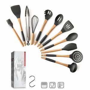 Image 3 - Keukengerei Set 11Pcs Silicone non stick Kookgerei Set met S Vormige Metalen Haak Houten Handvat Keukengerei set
