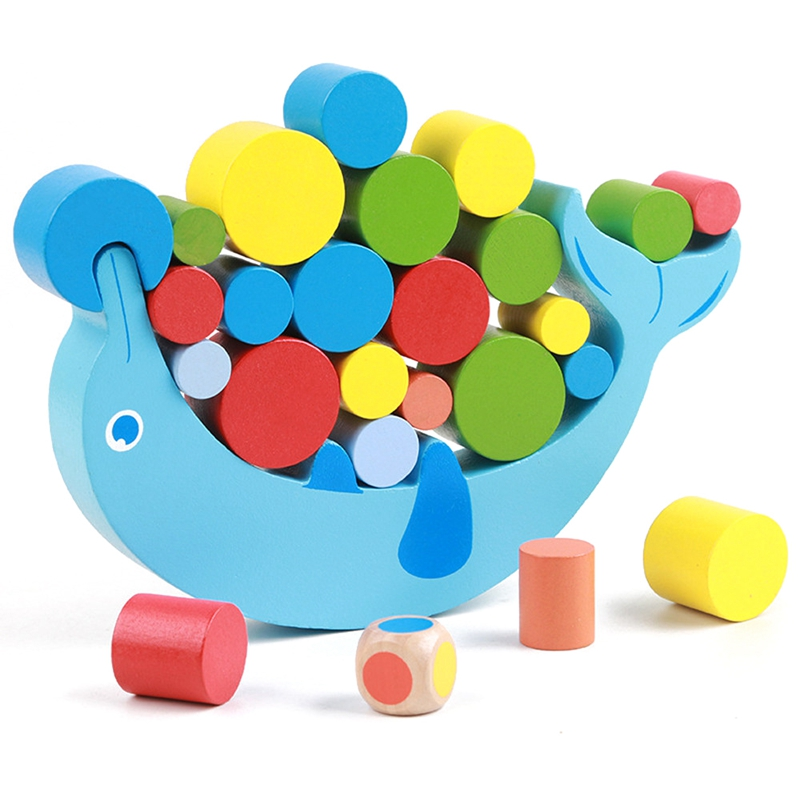 Balancing Stacked Baby Early Learning Toy Dolphin Balance Colorful Early Development Wood Blocks Toys