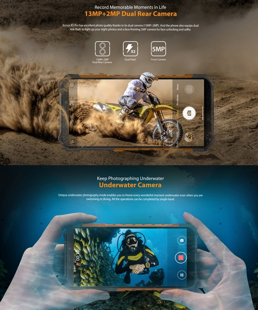 Ulefone Armor X5 Pro Rugged Waterproof Smartphone 4GB+64GB Octa Core Android 10.0 Cell Phone NFC 4G LTE Mobile Phone 5000mAh 5