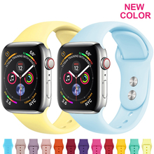 Silicone strap For Apple Watch band 38mm 42mm iwatch 4 Band 44mm/40mm Sport bracelet Rubber watchband for  iwatch 4 3 2 1 стоимость