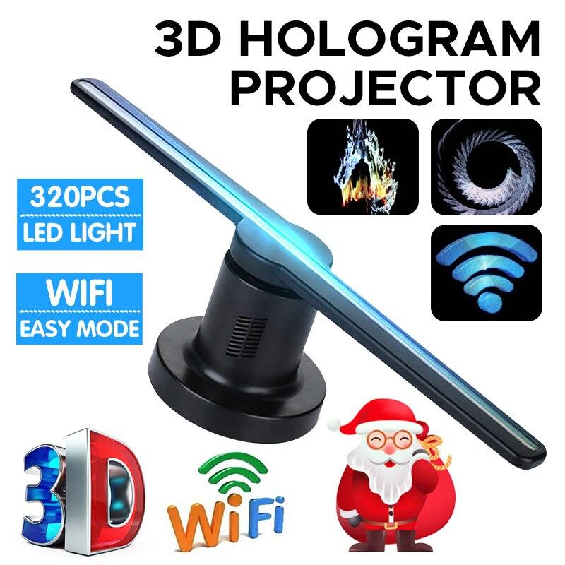3D hologramme affichage projecteur ventilateur nouveau 3D hologramme projecteur ventilateur holographique magasin Logo Wifi 224 LEDs Kit drôle