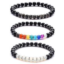 2018 new 6mm matte black agated mix 4x6 face stone bracelet energy crystal yoga for women size 19cm