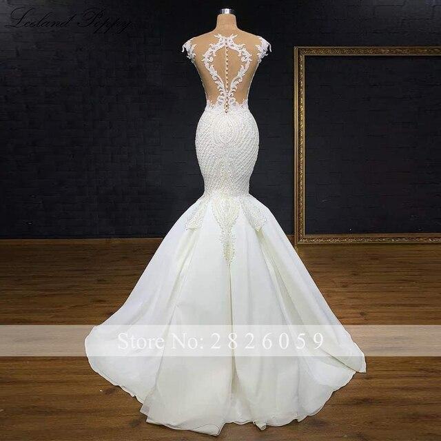 Lceland Poppy Luxury Mermaid Wedding Dresses 2021 Lace Appliques Sleeveless Bridal Dress Sweep Train Beaded Vestido de Noiva 4