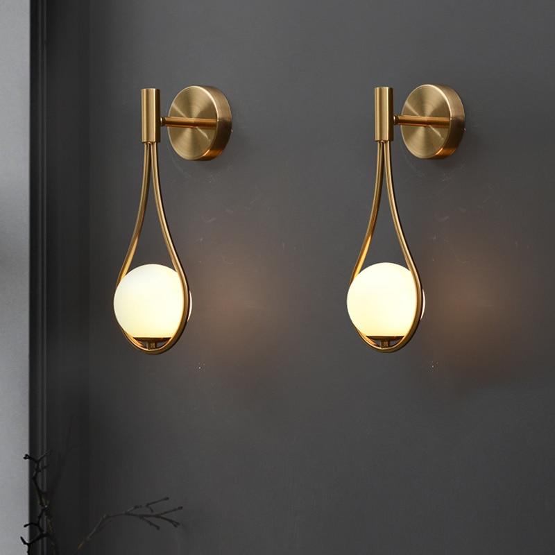 Wall-Lamp Glass Minimalist-Model Bedside Bedroom Living-Room Creative Nordic Modern Metal