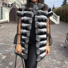 Winter Fashion Real Chinchilla Rex Konijnenbont Vest Voor Vrouwen Hoge Kwaliteit Rex Konijnenbont Jassen Volledige Pelt Natuurlijke Gilets luxe