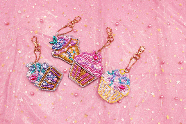 4PCS 5D Diamond Painting Key chain Rhinestone Embroidery Ice Cream Pattern Key Chain Accessories Pendant Jewelry