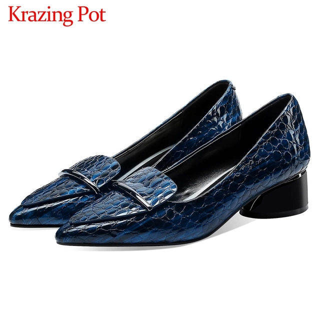 Krazing Pot print genuine leather fashion metal decorations pointed toe med heels slip on loafers leisure daily wear pumps L83