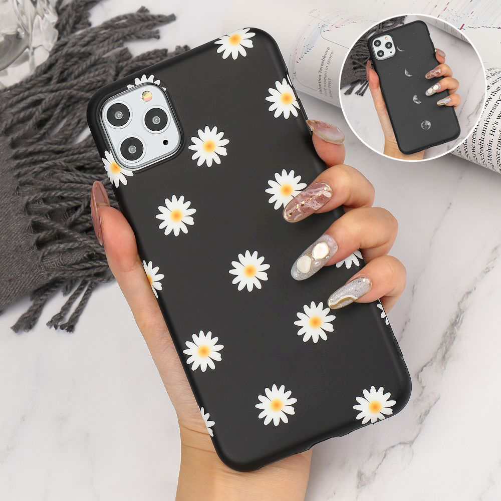 Matte Flower Silicon Case For iPhone 12 Pro Max X Xr Xs 8 Plus 7 6 6S SE2 Shockproof Soft Phone Cover For iPhone 11 Pro Max Etui