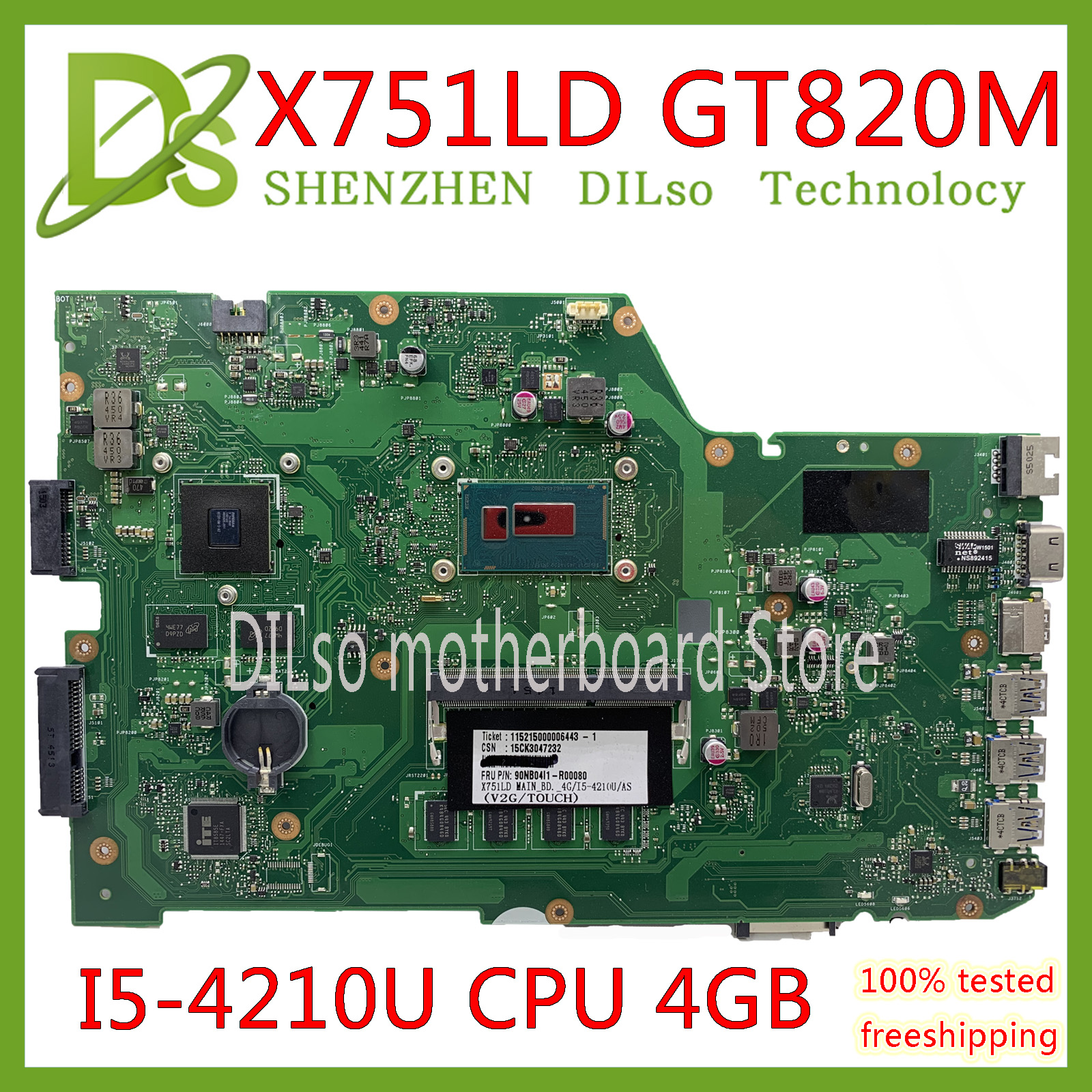 KEFU X751LD For ASUS X751LA X751LAB X751LD X751LB Original Laptop Motherboard I5-4210U 4G GT820M Original Mainboard Test 100%