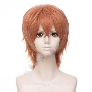 Image 2 - Anime donné Sato Mafuyu Cosplay perruque courte Orange foncé résistant à la chaleur cheveux synthétiques déguisement dhalloween perruques + bouchon de perruque gratuit