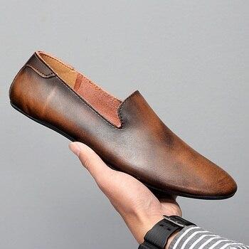 Black Men Loafers Shoes Luxury genuine leather Slip-on Moccasins Casual Men Shoes Vintage loafers Men's Flats driving Shoes 2020 genuine leather slip on men loafers dress flats shoes big size 46 luxury brand loafers shoes fashion casual men shoes 8820