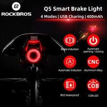 Rockbros-Luz LED sinalizador automático de freio IPx6 para bicicletas, à prova d'água, com recarregando, farol traseiro para ciclistas, acessórios Q5 para ciclismo