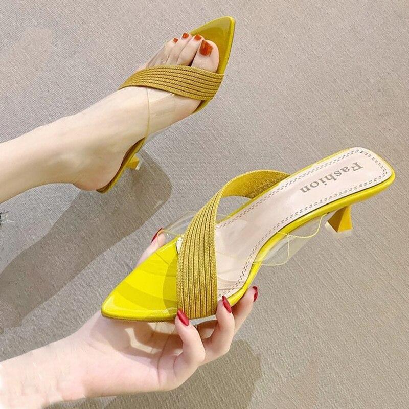 Летние женские желтый зеленый бежевые туфли лодочки сандалии для дам пикантные туфли без пяток на высоких каблуках без шнуровки шлепанцы; Шлепанцы без задника с открытыми пальцами; Туфли новые 2021
