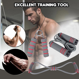 3pcs/Set Natural Rubber Latex Fitness Resistance Bands Exercise Elastic Pul Jumping Rope+Pull rope+Handgrip Workout Equipment
