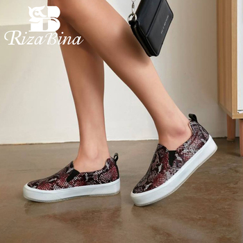 RIZABINA Women Flats Shoes New Design Snake Print Round Head Shoes For Ladies Platform Thick Bottom Lazy Footwear Size 34-39