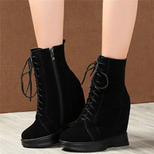 High Top Shoes Womens Lace Up Genuine Leather Super High Heel Snow Boots Platform Wedge Warm Pumps Winter Punk Fashion Sneakers f21 2s dc24v 2 channels control hoist crane radio remote control system industrial remote control battery