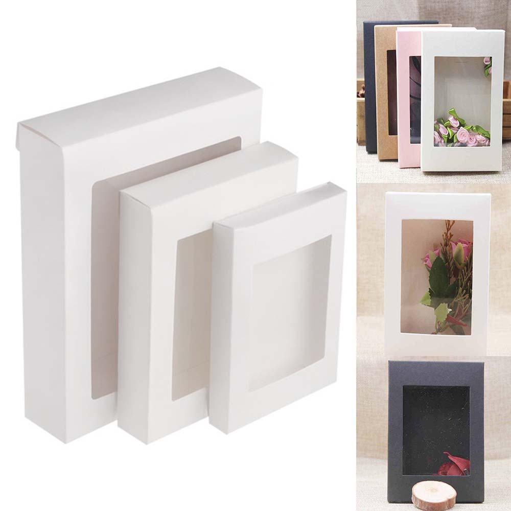 5PC DIY Paper Box With Window White/Black/Kraft Paper Gift Box Cake Packaging For Wedding Home Party Muffin Packaging