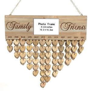 Placa de lembrete de aniversário de madeira placa de bétula calendário diy datas especiais planejador placa decoração p7ding