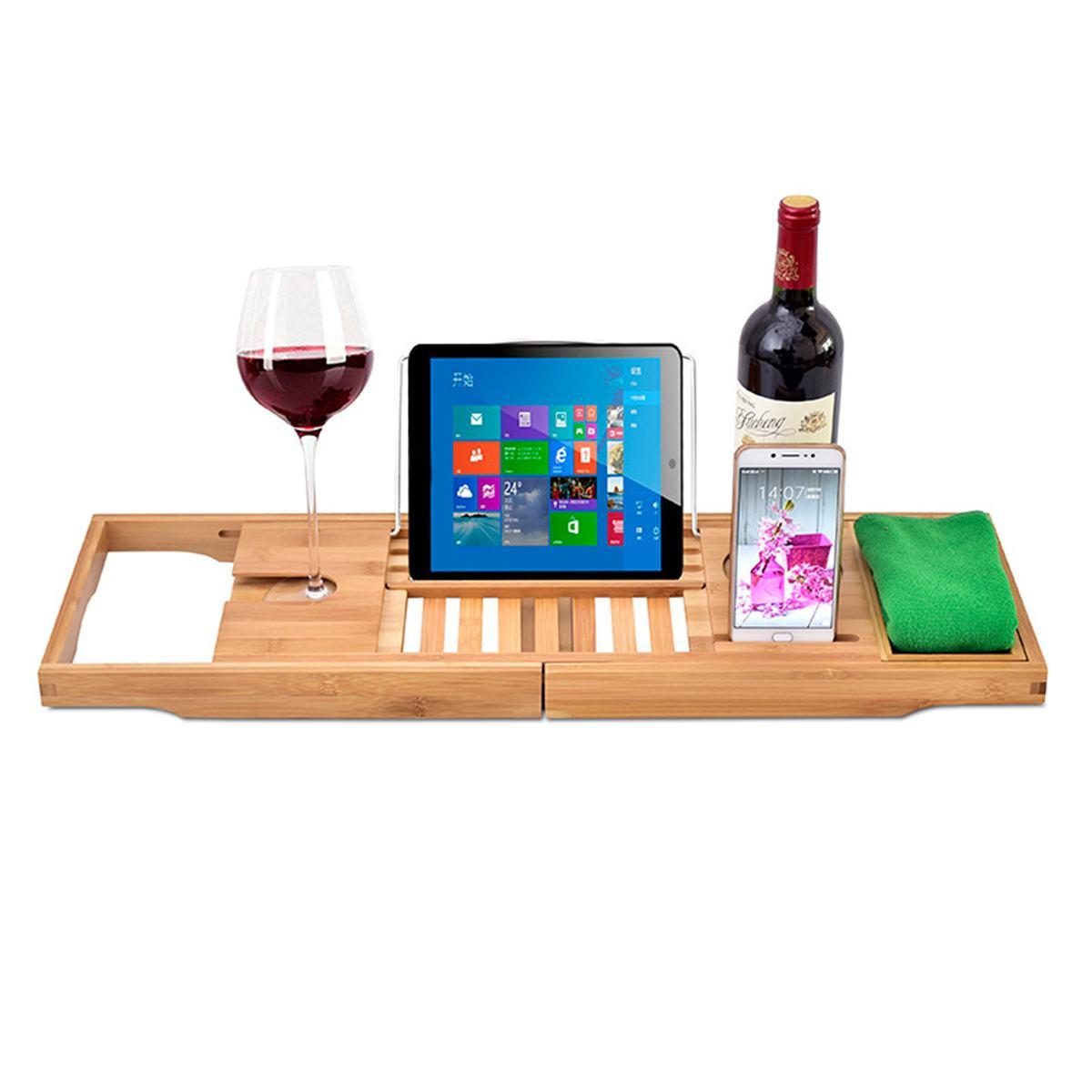 Bathroom Retractable Bamboo Bath Bathtub Shelf Bridge Tub Caddy Tray Rack Wine Glass Book Holder Bathtub Rack Support
