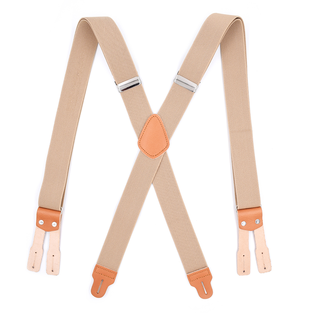 Mens Classic High Elastic Adjustable Braces X-Back Leather Suspenders With Button End And Strap Heavy Duty Large Size Tirantes