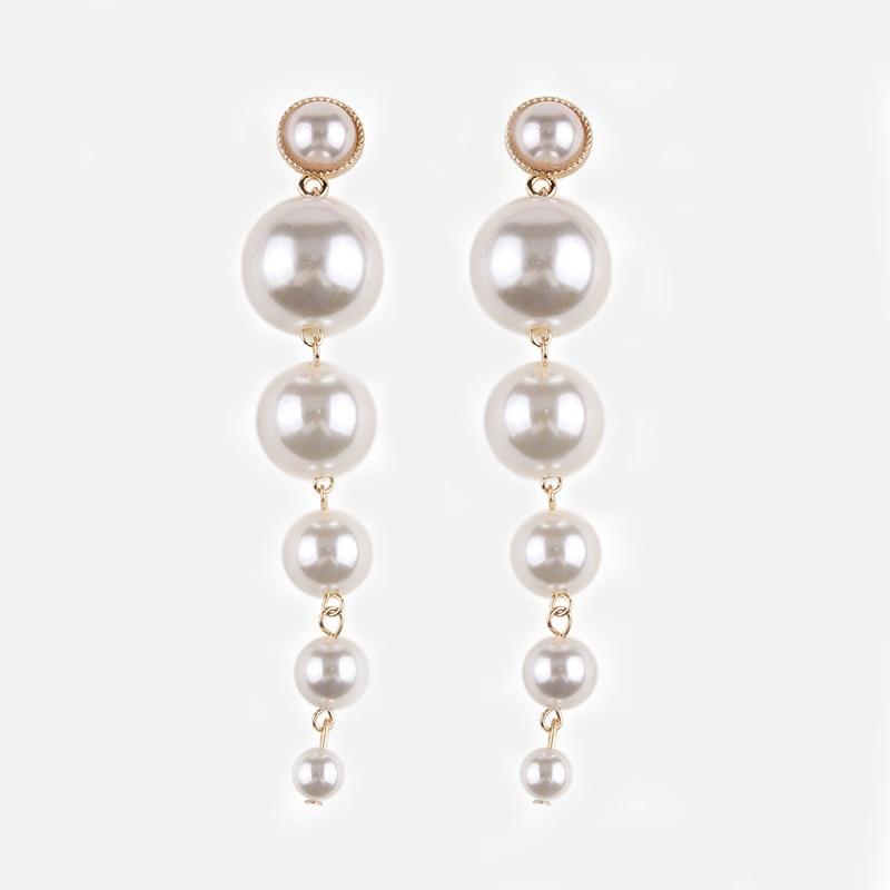 ZA Simulation Pearl Tassel Shell Long Earrings 2019 Statement Women Long Drop Earrings Luxury Jewelry Accessories Gift Wholesale in Drop Earrings from Jewelry Accessories