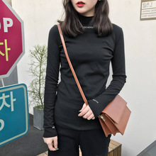 2019 NEW Womens Shirt Top Autumn Long Sleeve Slim Bottoming Shirts Blouse Female Solid Casual