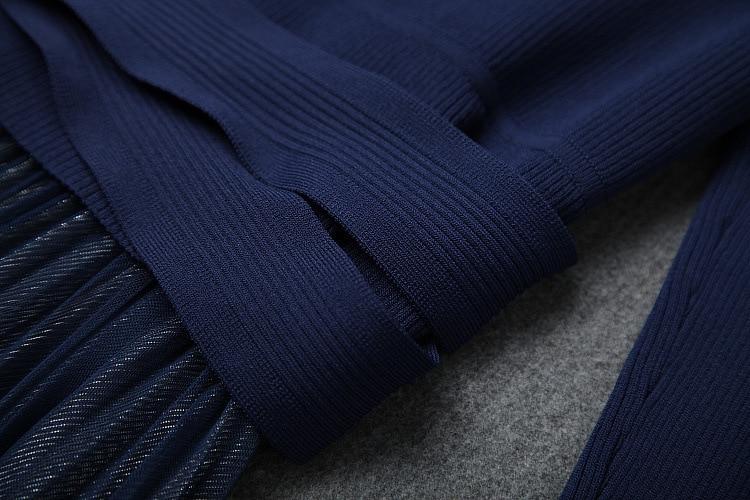 Nuovo 2019 autunno inverno maglia della rappezzatura della maglia del vestito a maniche lunghe fit e flare midi abiti nero blu - 3