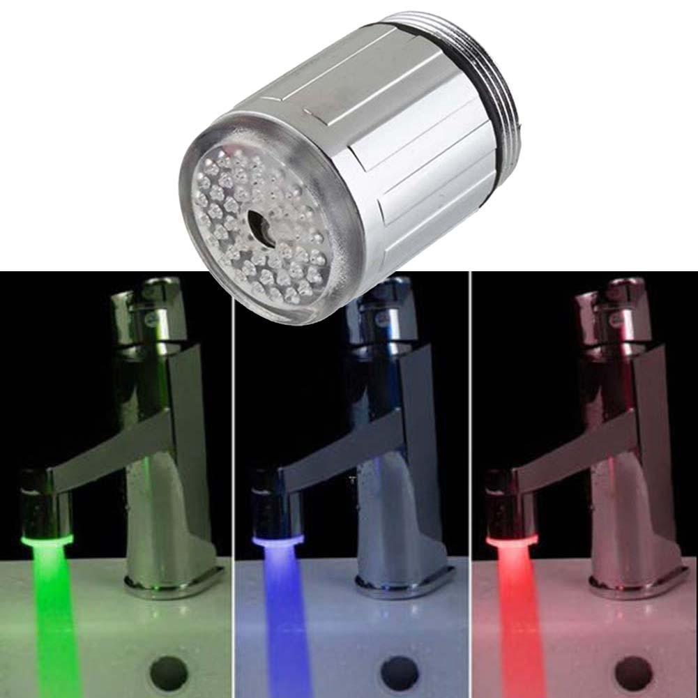 Temperature Sensor 3Color Kitchen RGB Glow Light Water Tap Shower LED Faucet