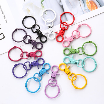 5pcs Color Paint Keychains  DIY Women Fashion Jewelry Accessories Metal Binder Clips Key Ring High Quality Handmade