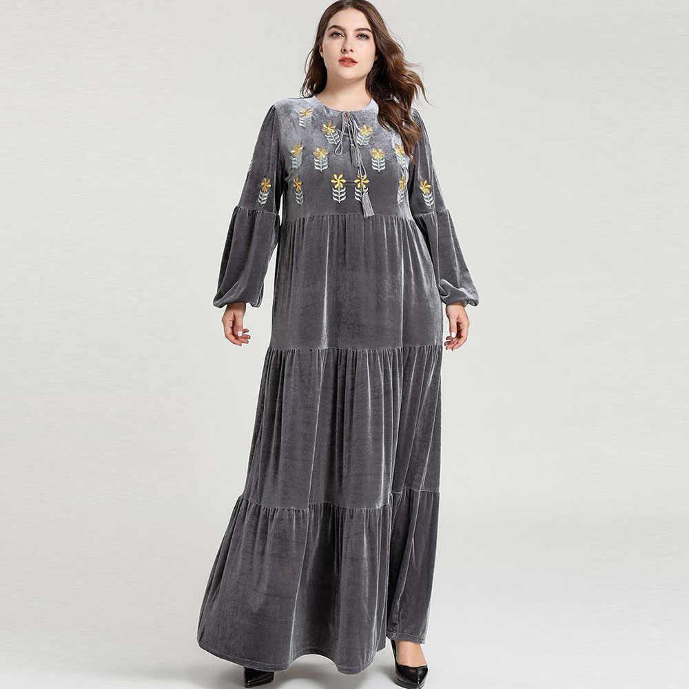 冬ベルベットアバヤドバイイスラム教徒ドレス女性イスラムロングドレスプラスサイズアラビアカフタン Abayas 着物インドネシアローブトルコ XL