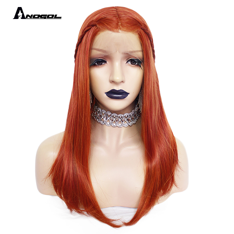 ANOGOL Orange Synthetic Lace Front Wigs Natural Long Silky Straight Red Wig High Temperature Fiber For White Women