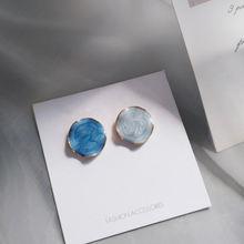 Женские асимметричные серьги s925 изящные круглые синего цвета