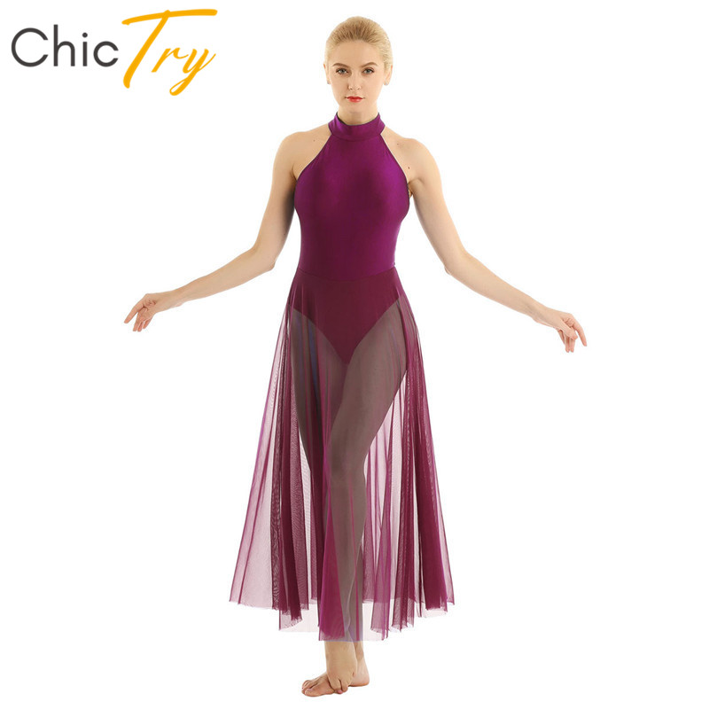 ChicTry Women Sleeveless Dancewear Gymnastics Leotard Long Mesh Ballet Dress Competition Stage Performance Lyrical Dance Costume