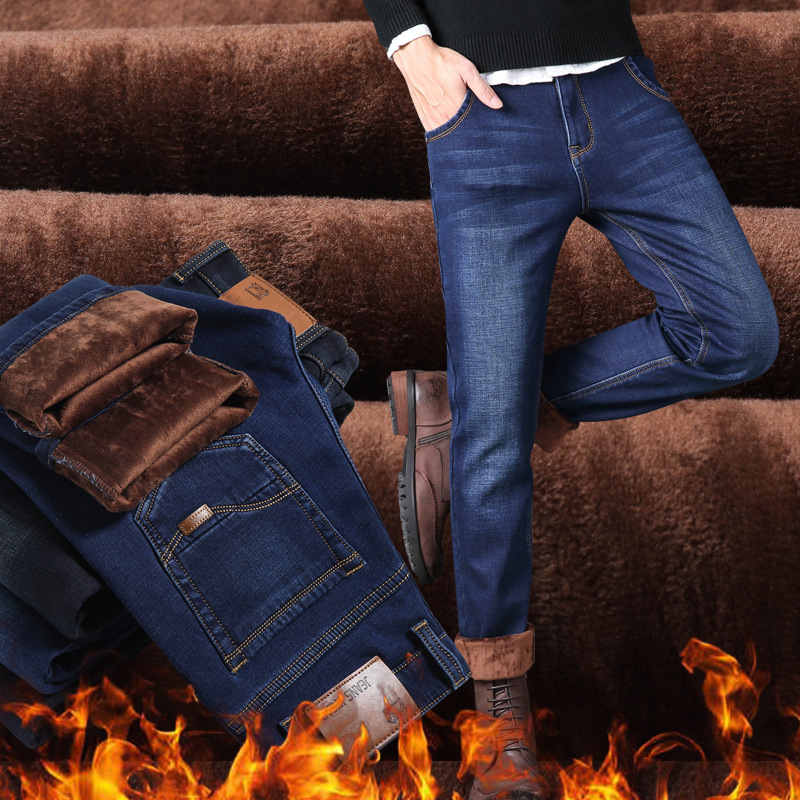 CHOLYL Brand Winter Men's Warm Fleece Jeans Stretch Casual Straight Thick Denim Flannel Jeans Soft Pant Trousers Pantalones